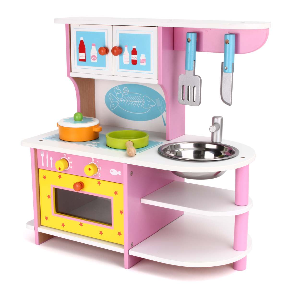 Large Kids Wooden Kitchen Toys Pretend Play Children Role Play Pretend Toy Set Cooking Tools Kit Girls Birthday Gifts Pink