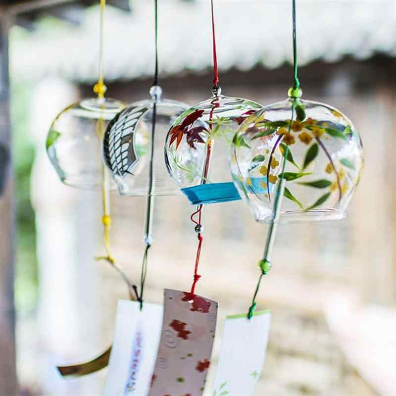 Glass Wind Chimes Japanese-style Wind Chime Simple and Beautiful Label Pendnat Chimes Wind Bells(Pattern 2)