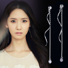 New Bohemian Tassel Drop Earring  Silver Dangle Zircon Gem Stone Rhinestone Long Drop Earrings for Women Jewelry Brincos Bijoux