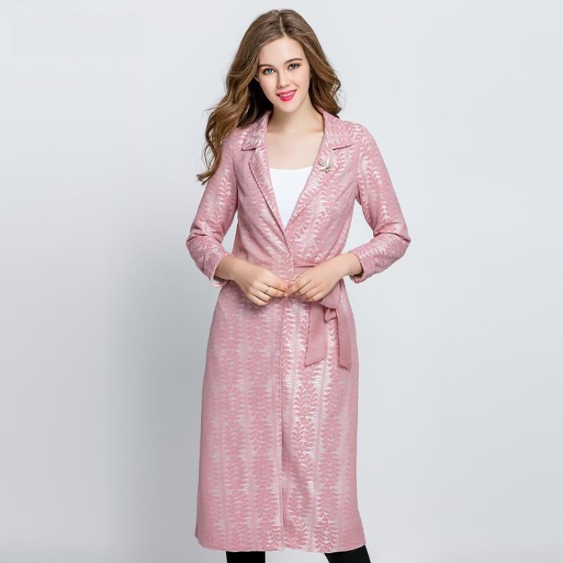 Lumière Doux Ceinture Outwear Nouvelle Revers Confortable Dentelle coat Femmes Pardessus Mode Plastique De pink Gray Trench Longue Classeur En Femelle Imprimé wPqaxEWXzB