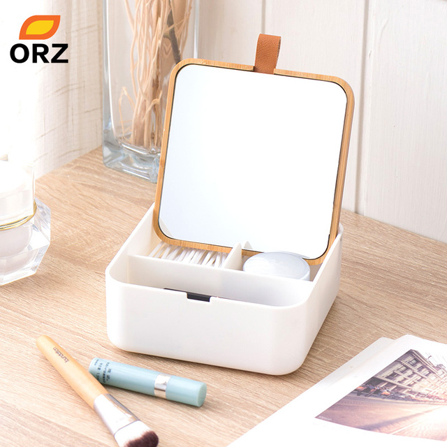 ORZ Makeup Organizer Plastic Storage Box with Mirror Travel Jewelry Storage Case Accessories Cosmetic Drawer Container Bamboo