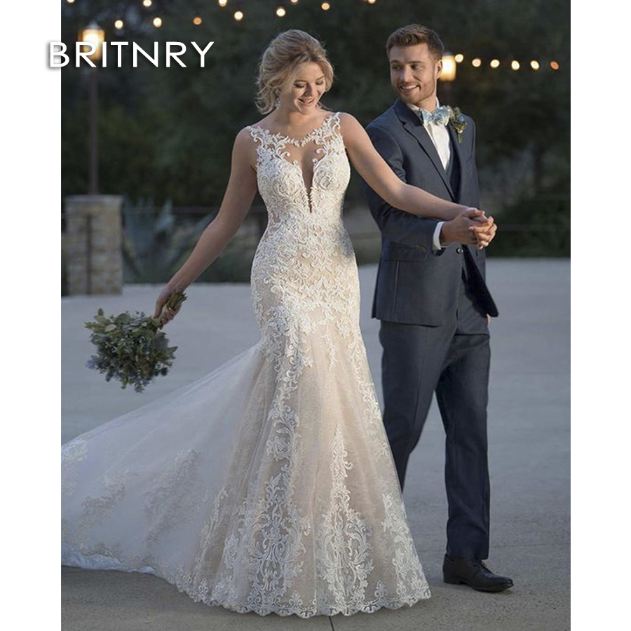 Mermaid Style Lace Wedding Gowns: BRITNRY 2019 Fansmile New Style Lace Mermaid Wedding Dress