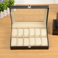12 Grids Watch Jewelry Rangement Storage Box With Mirror Leather Material Multifunctional Sundries Makeup Make Up Organizer