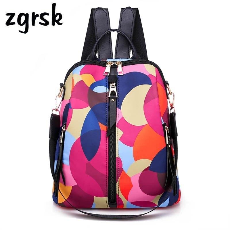 Fashion Colorful Circle Women Backpacks High Qulity Oxford Women Backpack Brand Large Capacity Multi-pocket Women Backpacks