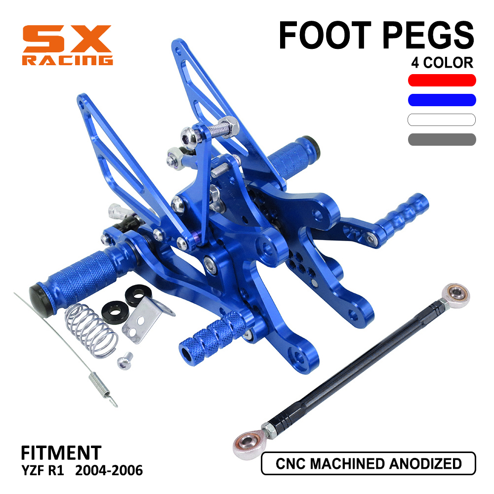 Motorcycle Aluminum Adjustable Footpegs Billet Foot Pegs Foot Pedals Rest Rearset For YAMAHA YZFR1 YZF R1 YZF-R1 2004 2005 2006Motorcycle Aluminum Adjustable Footpegs Billet Foot Pegs Foot Pedals Rest Rearset For YAMAHA YZFR1 YZF R1 YZF-R1 2004 2005 2006