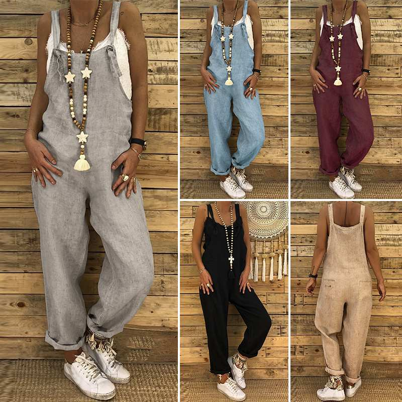 S 5XL ZANZEA 2019 Women Casual Solid Strappy Dungarees Vintage Cotton Linen Loose Party Long Harem Overalls Rompers Jumpsuits(China)