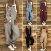 S 5XL ZANZEA 2019 Women Casual Solid Strappy Dungarees Vintage Cotton Linen Loose Party Lo
