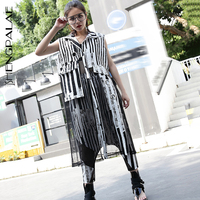 SHENGPALAE Tide New Summer Lapel Sleeveless Black Striped Split Joint Mesh Long Big Size Vest Women Vest Fashion 2019 JT184