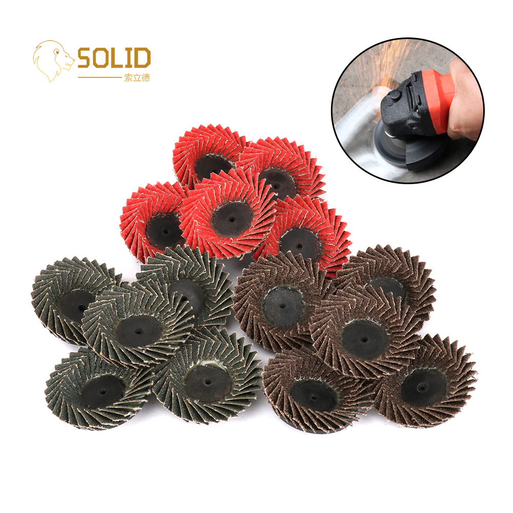 "5Pcs 2"" 60# Abrasive Flap Disc Wheel Type R Roloc Grinding Flap Disc Threaded Twist Lock For Derusting And Grinding Metal 55mm"