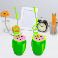 2Pcs Cute Creative Plastic Watermelon Shape Drink Cup With Lid Big Belly Childrens Hawaiian Party Decoration Supplies