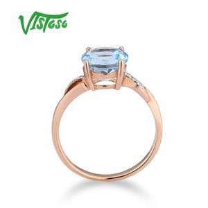 Image 3 - VISTOSO זהב טבעות לנשים אמיתי 14K 585 רוז זהב טבעת יהלום נוצץ שמיים כחול טופז יום נישואים בסדר תכשיטים