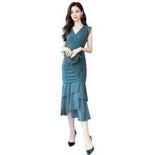 2019 Summer Women Sexy Sleeveless Bodycon Dress Elegant Club Party Ruffle Vintage Chiffon