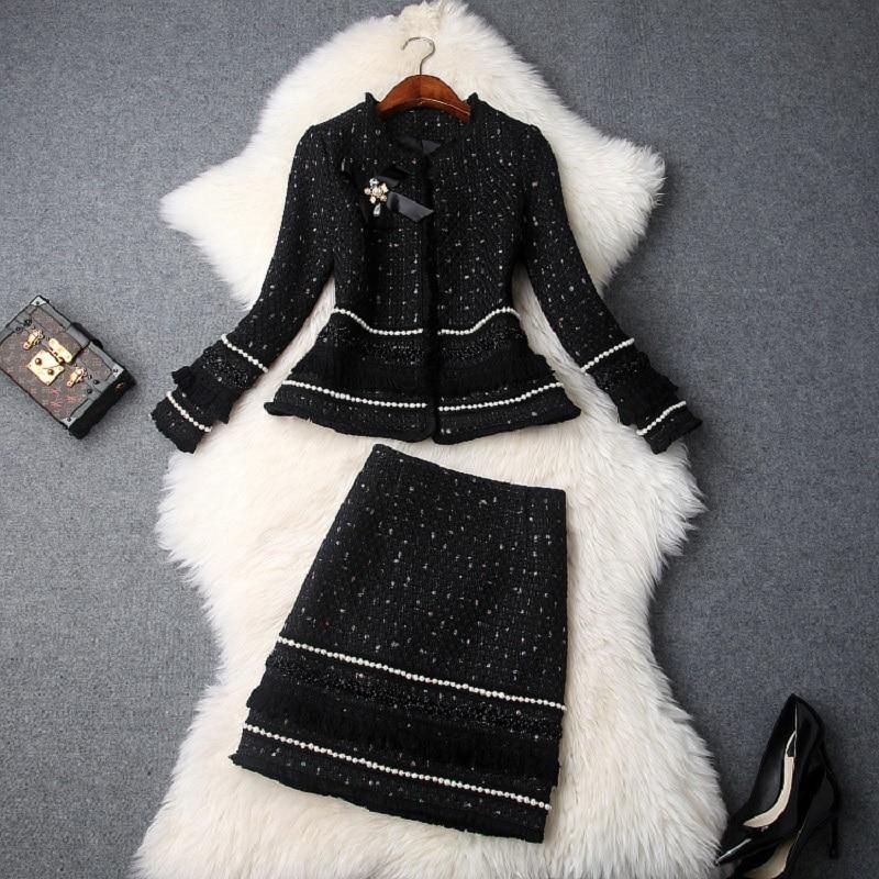 Vêtements Jupe Droite D'affaires De Femelle Laine White Costume Ensembles Élégant Top black Designer Perles Vestes Chaud Qualité Femmes Costumes Ensemble 7gbfY6y
