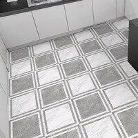 Self adhesive Marble Grey white Pvc Wallpaper Bathroom Waterproof Anti slip Flooring Sticker Kitchen Ground Sticker Decoration