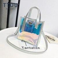 TTOU модная Лазерная Прозрачная голограмма Sac De Plage Женская сумка через плечо женская голографическая сумка