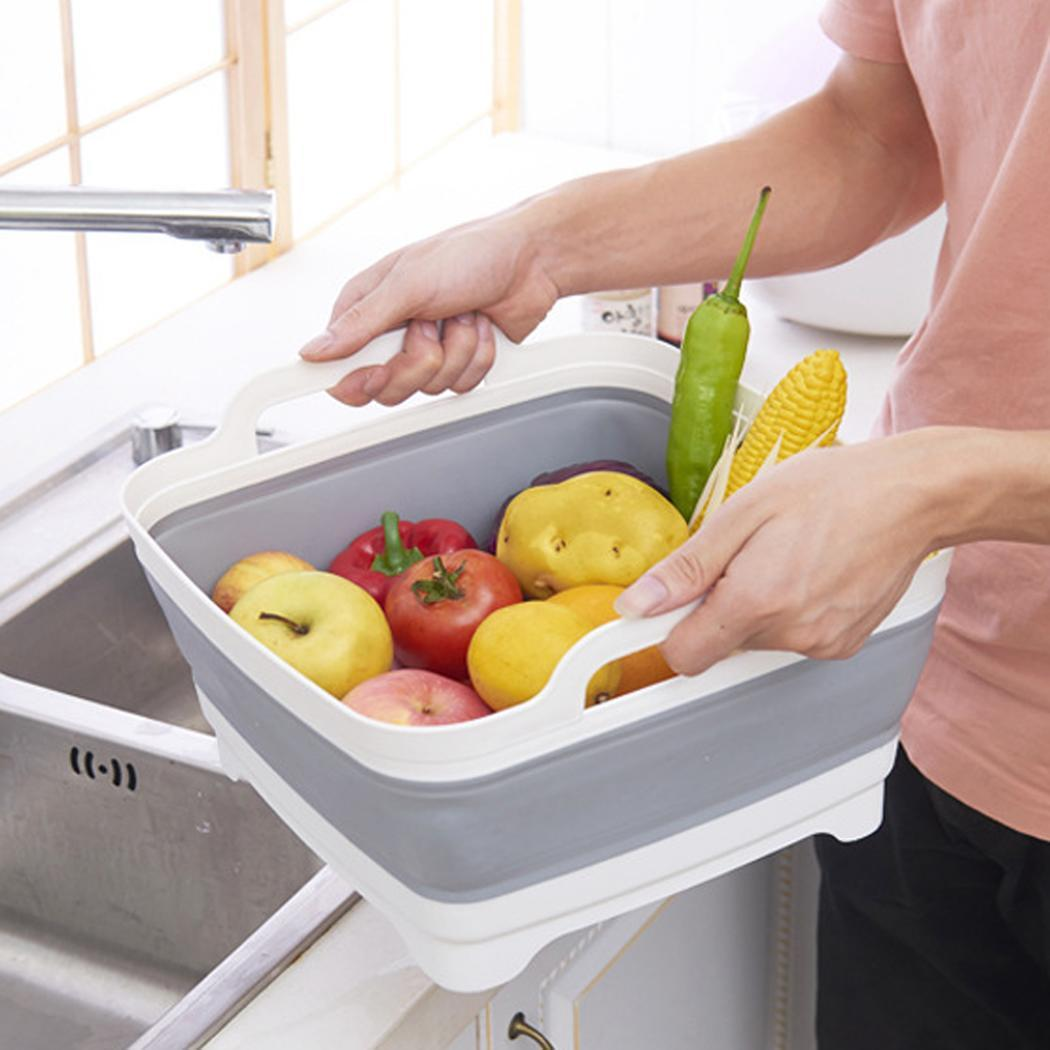 Collapsible Fruit Wash Basket Vegetable Strainer Colander with Washing Draining Suitable for home restaurant use.