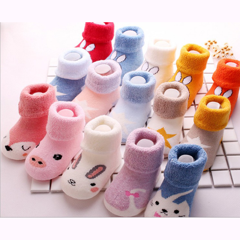 Hot New Arrived Newborn Boys Girl Unisex Kids Character Socks Baby Thickening Terry Children Sock 5pair/lot 0-3year 2019 Winter