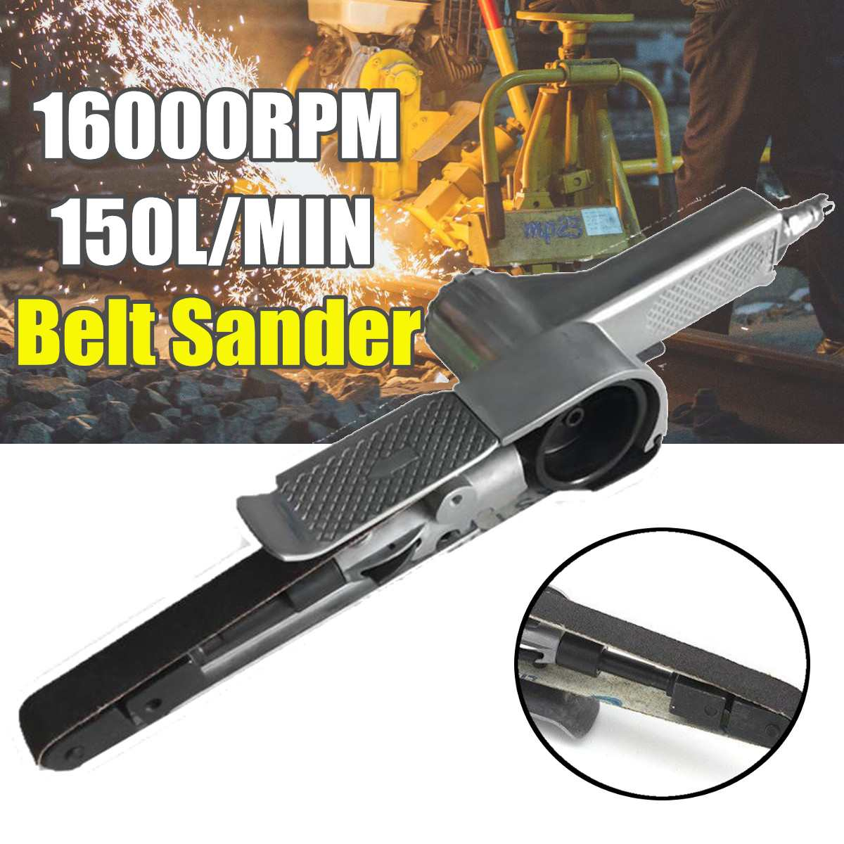 16000RPM 150L/MIN 1/4Air Belt Sander 25 Belts Sander Pneumatic Tools Handheld Grinder Polishing Machine Wrench Power Tools Kit