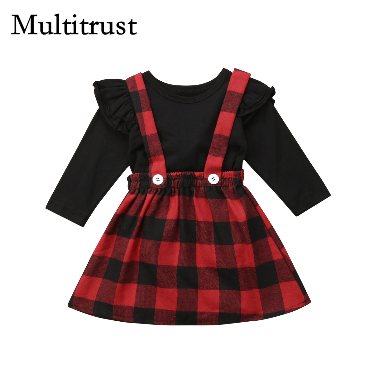 2018 Multitrust Brand Christmas Baby Girls Clothes Outfits Black Winter T-shirt+Overall strap Red Plaid Skirt Autumn Set