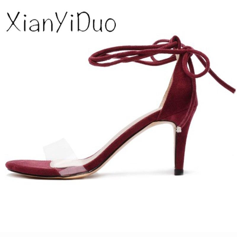 Xianyiduo2019 летняя модная пикантная женская обувь винно Красные босоножки с закрытой пяткой, прозрачный высокий каблук, большие размеры 40 46, отк... - 3