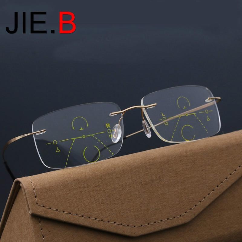 JIE.B Smart Progressive Multifocal Photochromic Reading Glasses near and far Multifunction rimless glasses Bifocal Eyewear