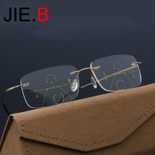 JIE.B Smart Progressive Multifocal Photochromic Reading Glasses near and far Multifunction rimless glasses Bifocal Eyewear hot sale women reading glasses cat eye bifocal reader progressive multifocal lens diopter eyeglasses for near and far distance