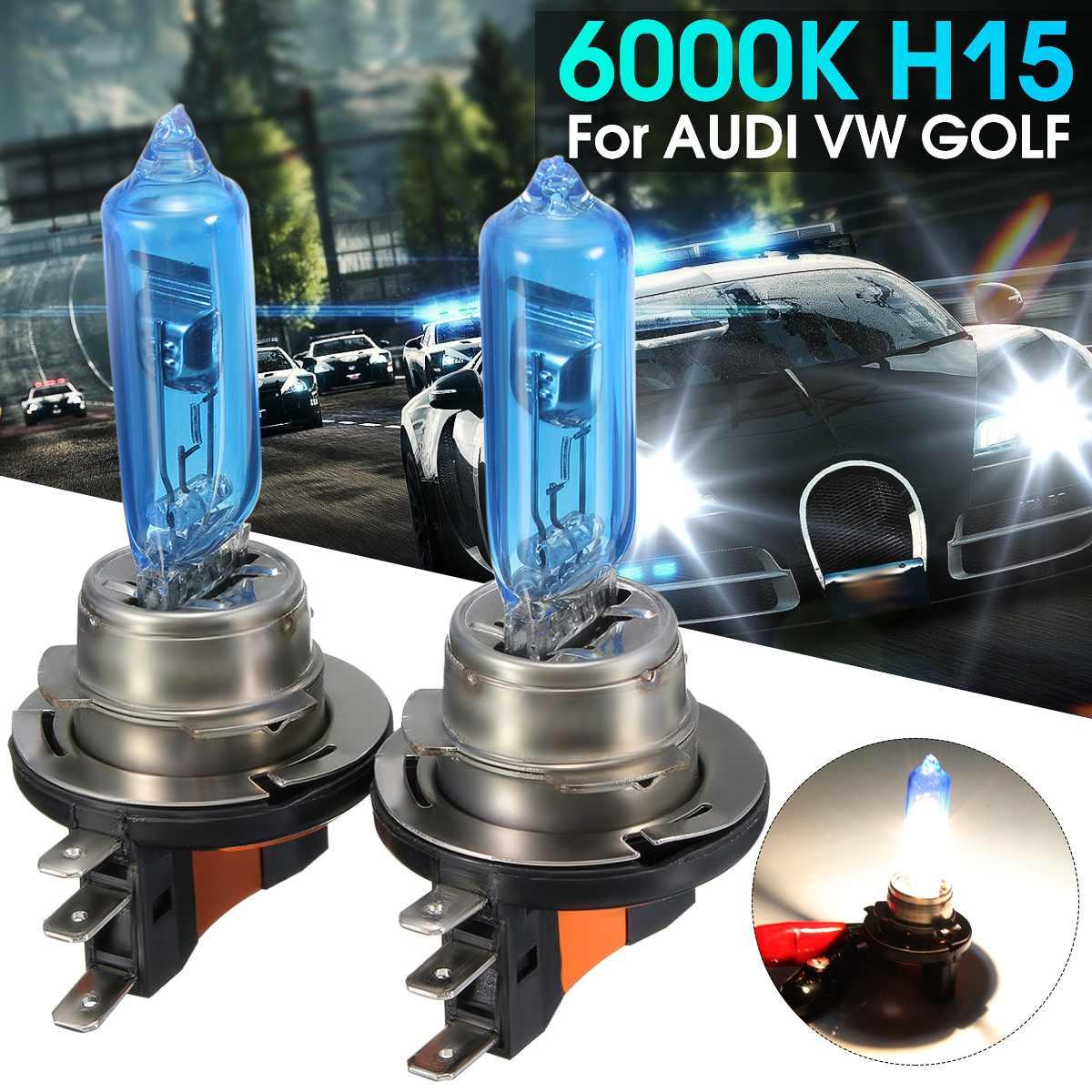 4eead63456f9ea Beste Koop 1 paar 15 W 55 W Auto H15 Super Wit Koplamp Lamp Voor HID 6000 K  Voor AUDI Voor VW GOLF 450LM H 1200LM Goedkoop
