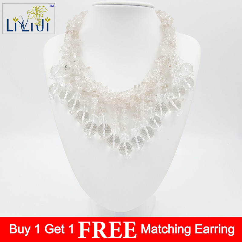 Natural Clear Quartzs Crystal Beads& Jades Toggle Clasp Necklace 47cm/19inches Fashion Jewelry for wedding
