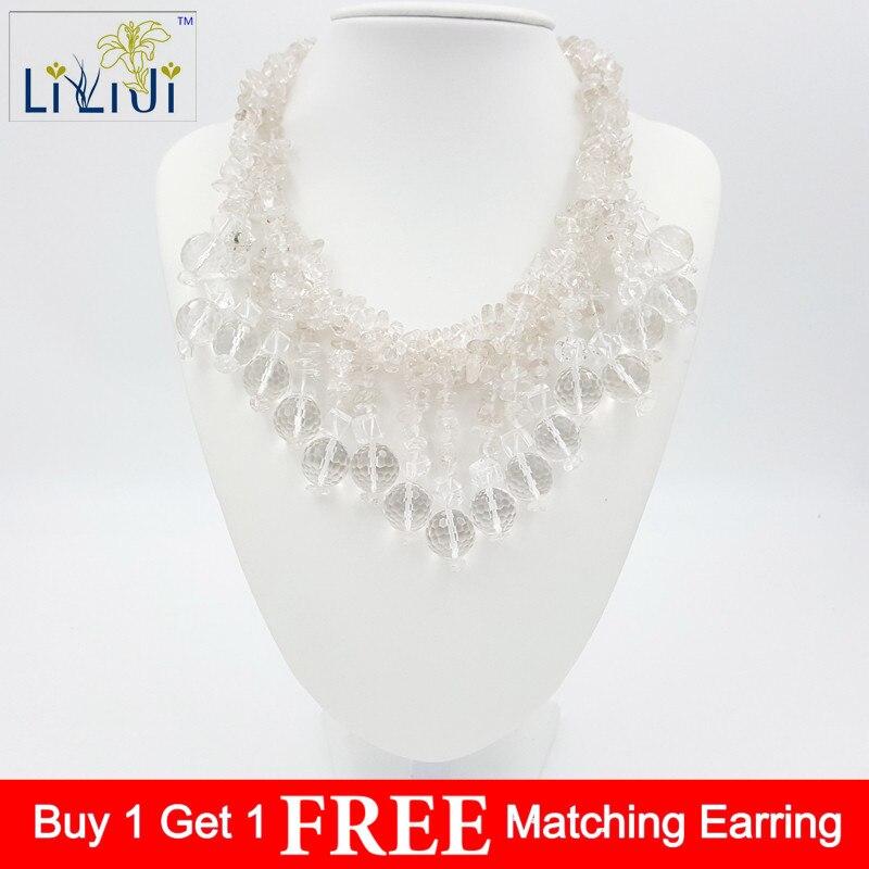 Perles de cristal de Quartzs clair naturel et collier de fermoir à bascule Jades 47 cm/19 pouces bijoux de mode pour mariage