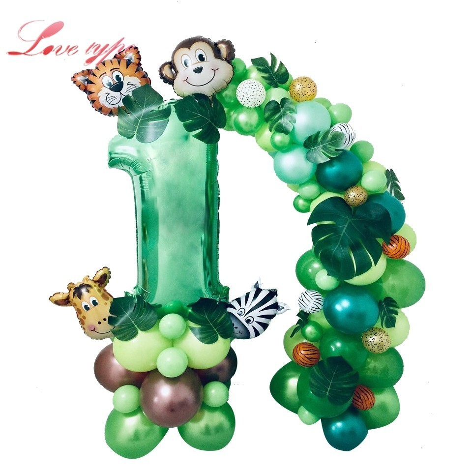 1Set Jungle Party Wild One Cute Animal Figure Balloons Happy Birthday Banner For Baby Shower Birthday Safari Party Supplies