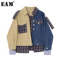[EAM] 2019 New Spring Winter Lapel Long Sleeve Blue Denim Split Joint Plaid Printed Loose Jacket Women Coat Fashion Tide JK942