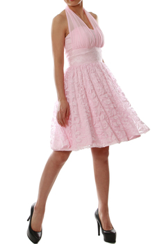 MACloth Women Halter Short Lace Little Black Dress Wedding Party Bridesmaid 160278