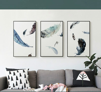 New Scandinavian Modern Simple Oil Painting Canvas Painting Decorative Painting of Animal Feather Wall Art Pictures Poster Painting & Calligraphy    - AliExpress