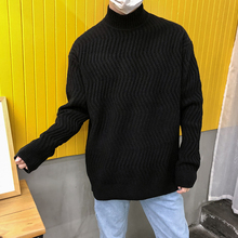 Winter New Casual Men's Sweater M-2XL Youth Cotton Nitrile Personality Fashion Loose Temperament Round Neck Wild Color Stripes