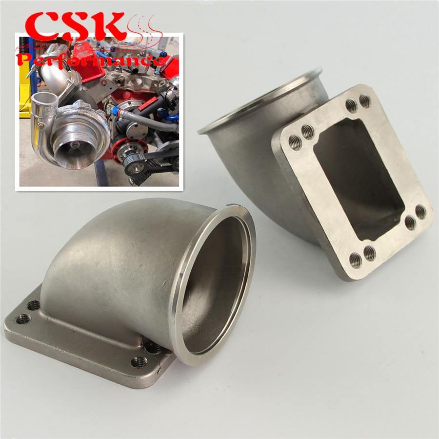 2Pcs 76mm 3.0 Vband 90 Degree Cast Turbo Elbow Adapter Flange For T3 T4 Turbocharger