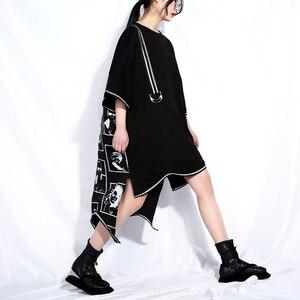 Image 3 - [EAM] 2020 New Spring Summer Round Neck Short Sleeve Black Big Size Letter Printed Irregular Hem Dress Women Fashion Tide JQ326