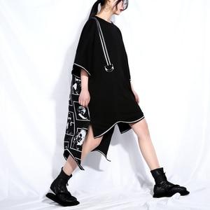 Image 3 - [EAM] 2020 חדש אביב קיץ עגול צוואר קצר שרוול שחור גדול גודל מכתב מודפס סדיר מכפלת שמלת נשים אופנה גאות JQ326