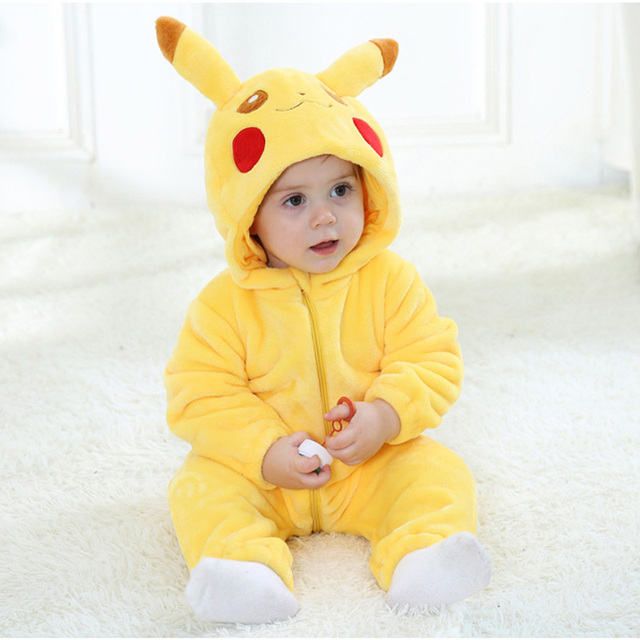 3b0ae0ef836a Hooded Baby Romper Infant Jumpsuit Toddler Onesie for 0-3 Years Baby Boys  Girls Pikachu Minion Kitty Cat Doraemon Baby Clothes