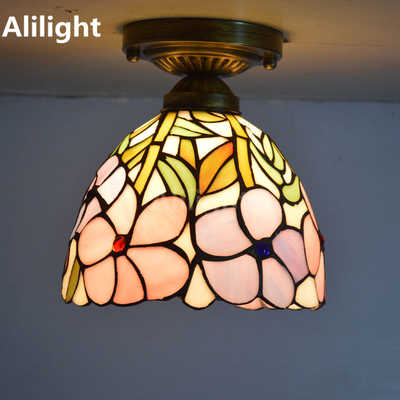 Tiffany Ceiling Lights Stained Gl Lampshade Fresh Country Flowers Bedroom Indoor Lighting E27 Flush Mount Lamp Decor Fixtures