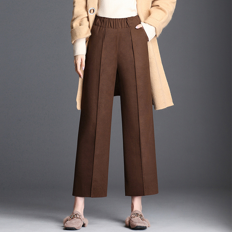 Goddess Woolen   Wide     Leg     Pants   Female Autumn and Winter New Fashion Elastic High Waist Wild Nine Points Casual   Pants