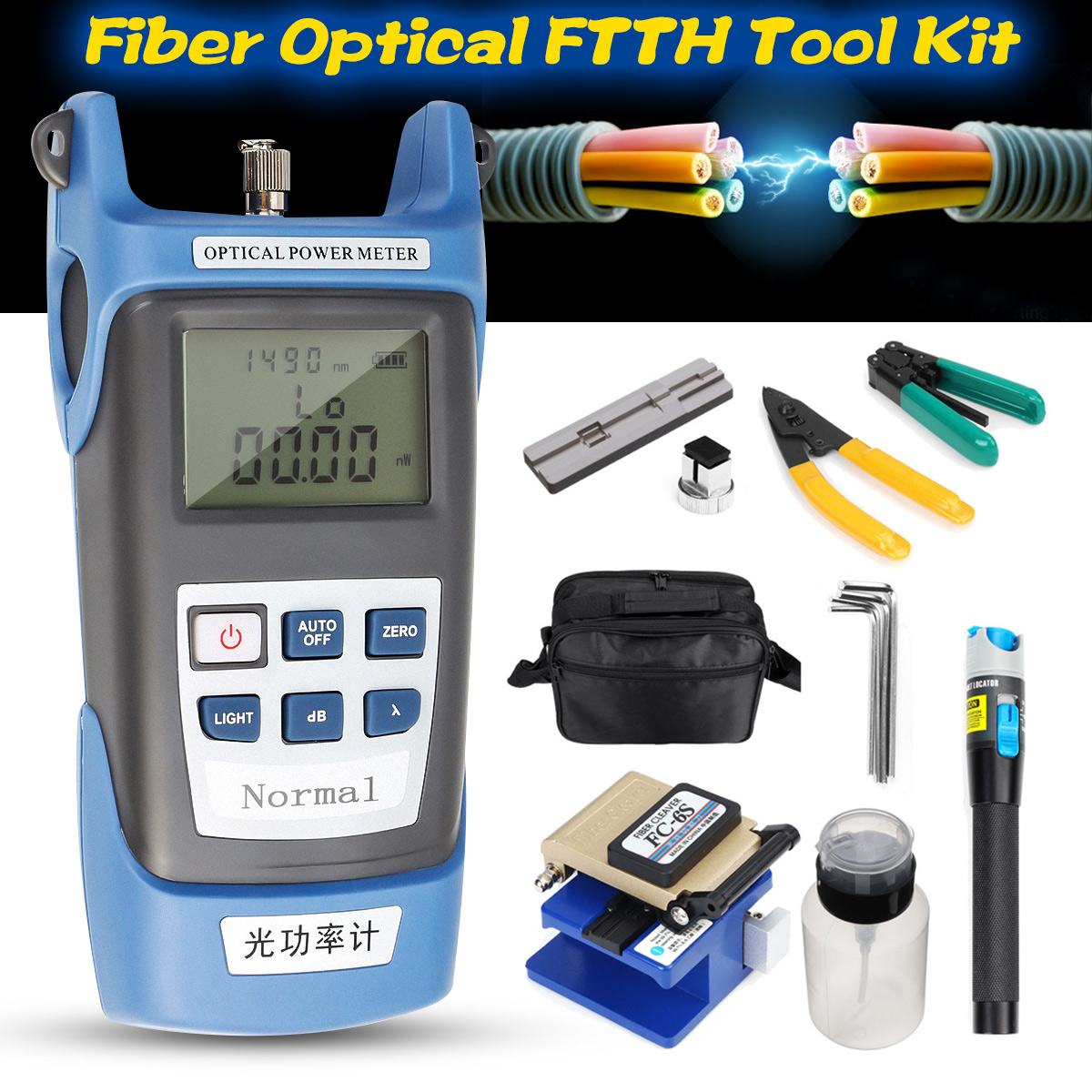 13Pcs Fiber Optical FTTH Power Meter Cleaver Red Light Test Pen Cable Cutter Piper Kit+Stripping Pliers Visual Fault Locator13Pcs Fiber Optical FTTH Power Meter Cleaver Red Light Test Pen Cable Cutter Piper Kit+Stripping Pliers Visual Fault Locator