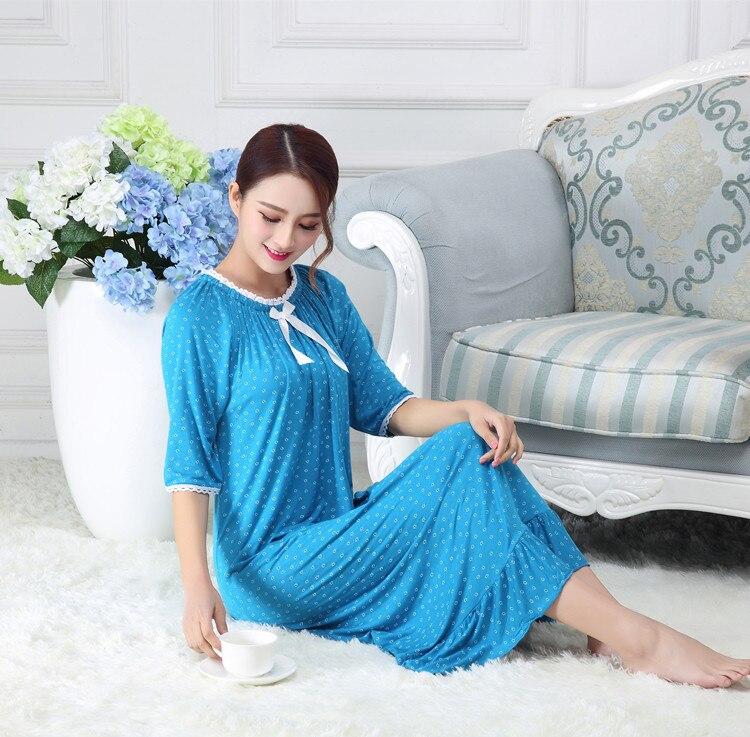 Spring New Lady Girl Nightdress Women Modal Long Type Cotton Cute Princess Nightgown Breathable Elastic Sleepwear Sleepdress