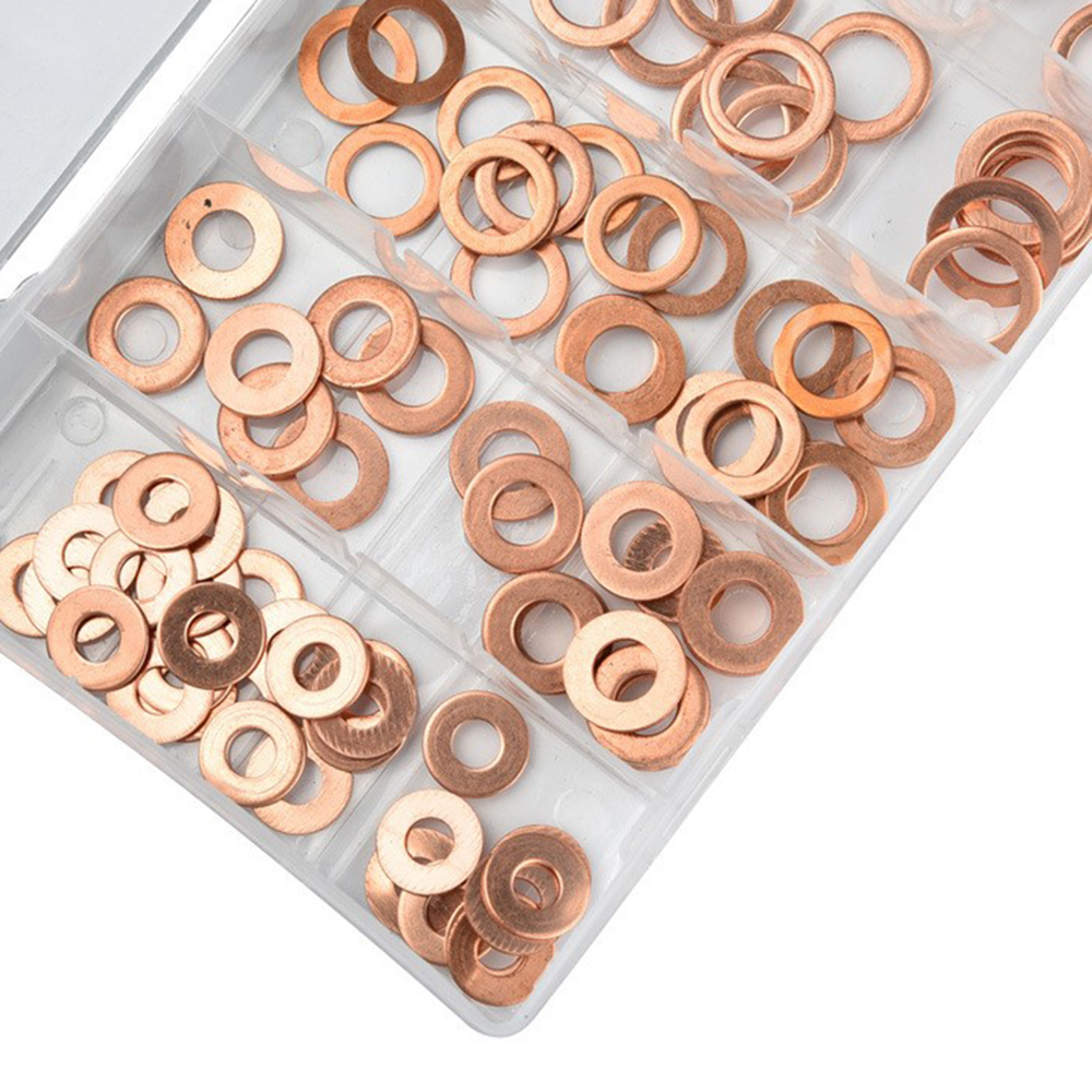 120pcs Copper Washer Gasket Set Plain Washers With Box Bolts Flat Ring Seal Kit Fastener Hardware Plumbing Gaskets Skillful Manufacture
