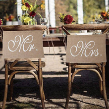 2pcs/set Wedding Decoration Pennant Reception Sign Mr And Mrs Linen Flag Chair Banner Props Photograhs Anniversary Party #0128