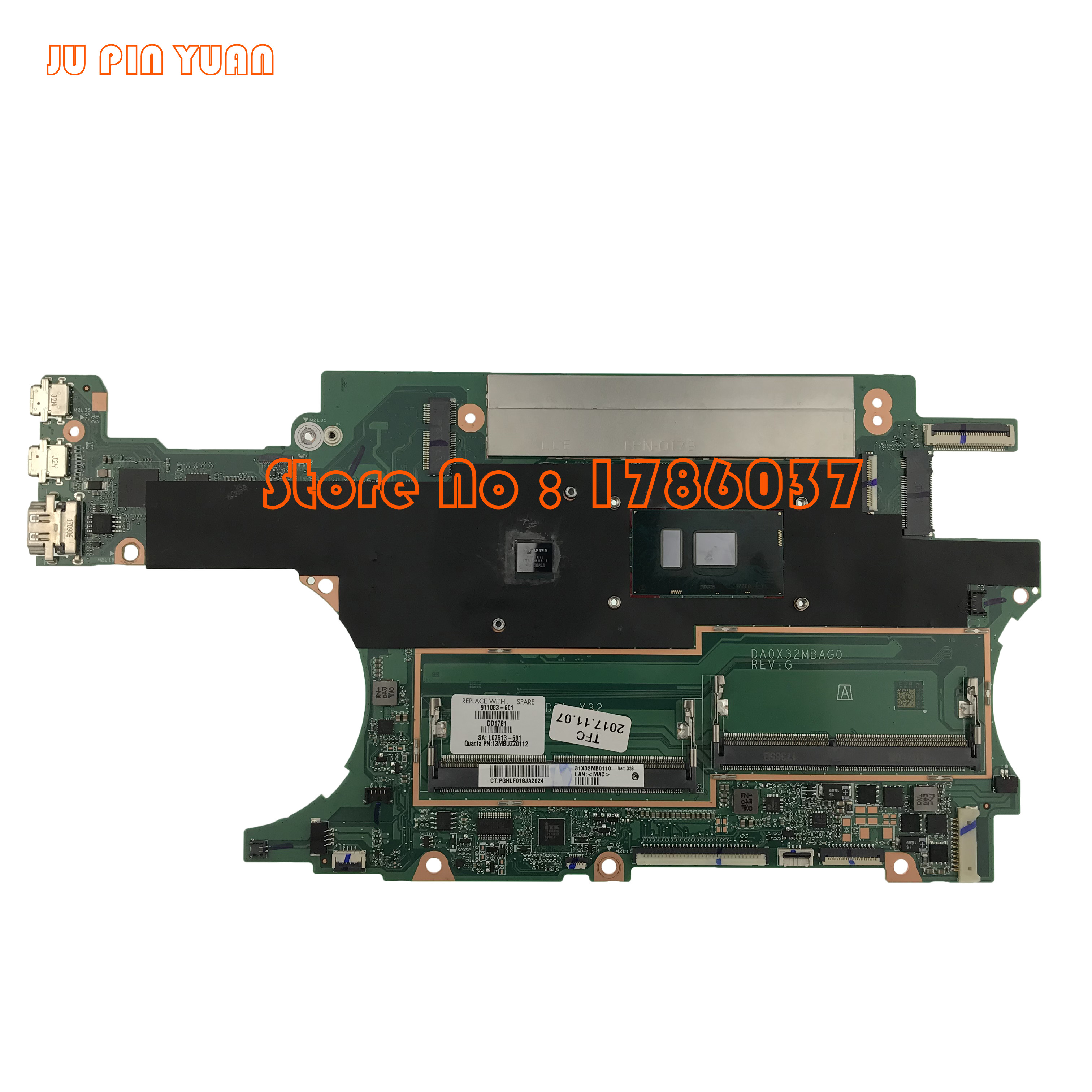 JU PIN YUAN 911083-601 911083-501 DA0X32MBAG0 For HP SPECTRE X360 15-BL Laptop Motherboard With I7-7500U 100% Fully Tested
