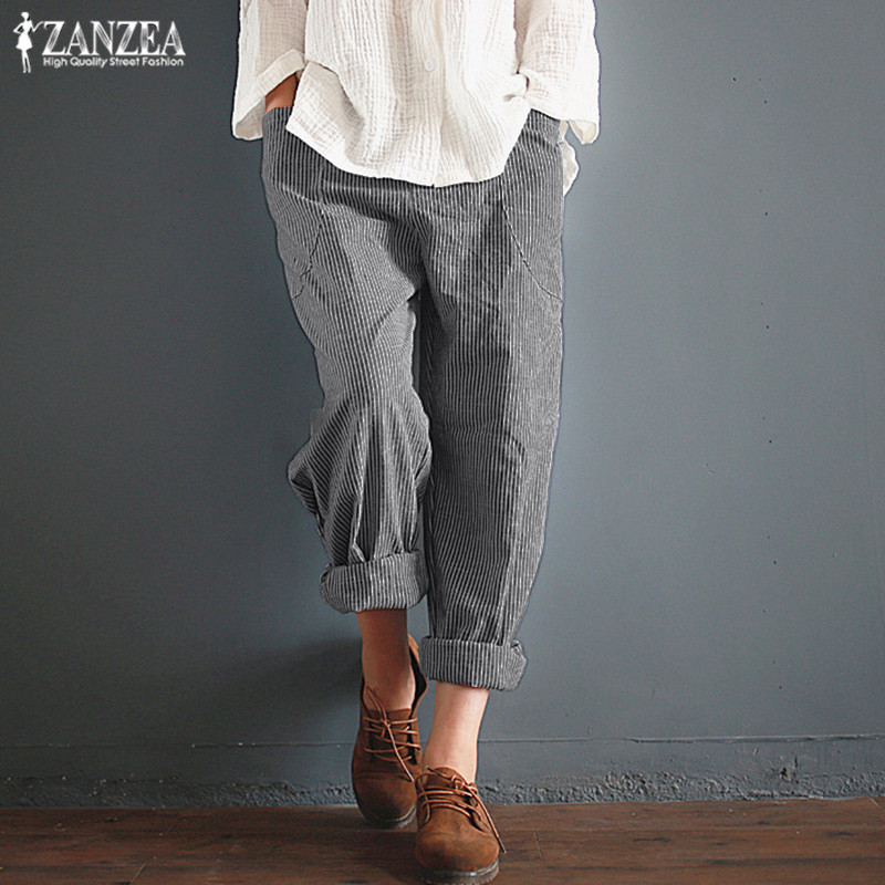Striped Harem   Pants   Women's Casual Trousers ZANZEA 2019 Autumn Elastic Waist Long   Pants   Kaftan Female Baggy Pantalon Palazzo 5XL