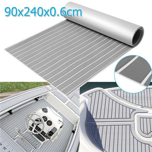 "Updated Version 90x240cm Grey with White EVA Foam Teak Boat Flooring Sheet Yacht Synthetic Teak Decking Pad Chamfered FOR Edge teak house раковина ""round white"""