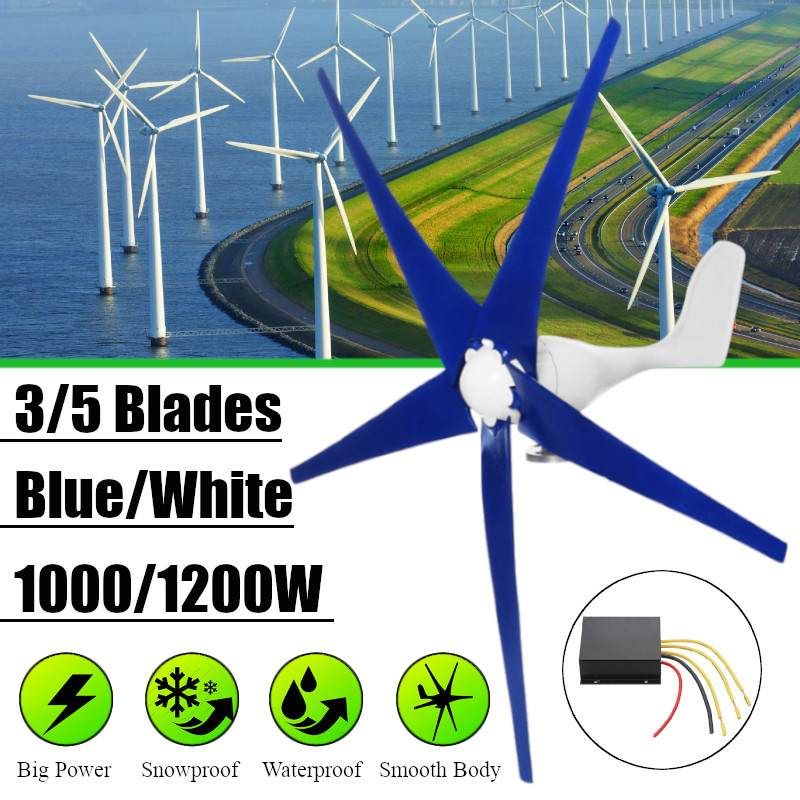 Blanc/Bleu Vent pour générateur de turbine Trois ou Cinq Vent Lames Option 1000/1200 W Vent Contrôleur Cadeau idéal pour la maison Ou Camping
