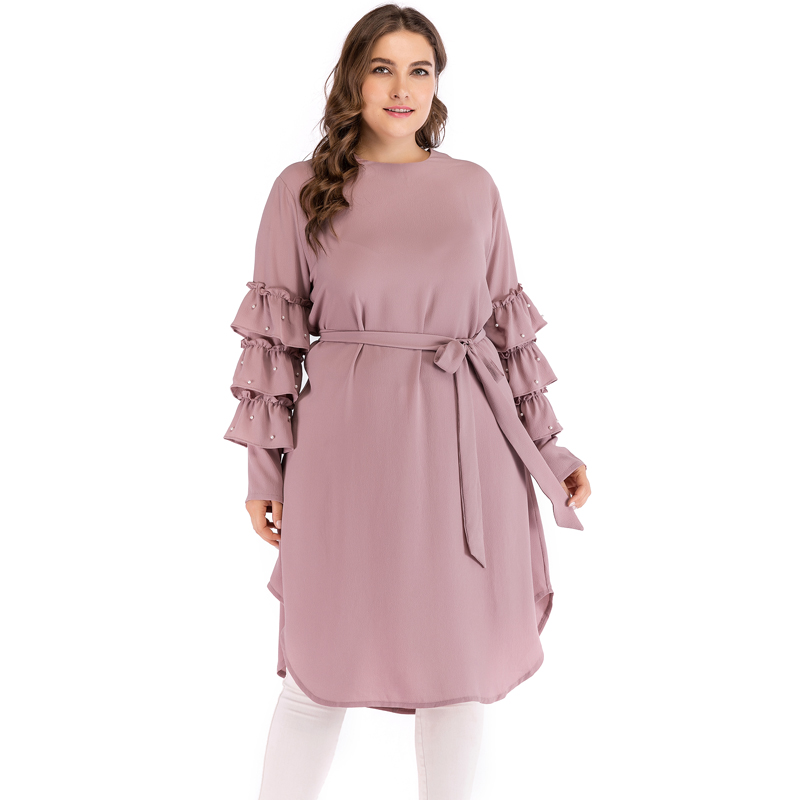 Plus Size 5XL Women Sold Dress Beads Ruffles Autumn Round Neck Long Sleeve Dress Belt Slim Fashion Oversize Dresses Elbise