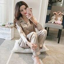YJSFG HOUSE Women's Pajama Sets Silk Satin Thin Tops Pants Pajamas Set Long Sleeve Button-Down Sleep